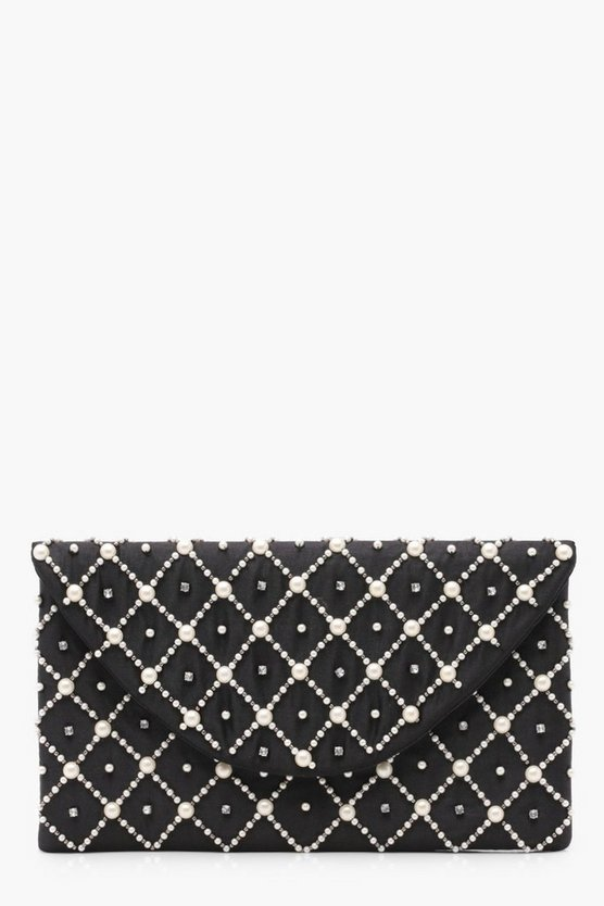 Womens Niamh Pearl & Diamante Envelope Clutch