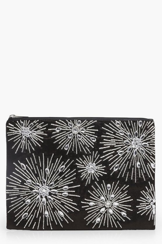 Firework Beaded Clutch Bag, Black, DAMEN