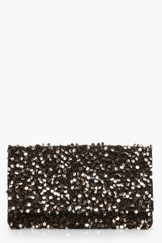 Gold Lydia 3D Sequin Fold Over Clutch Bag