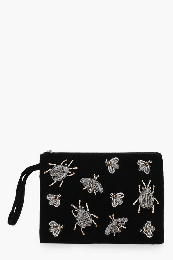 Bug Embellished Velvet Clutch Bag