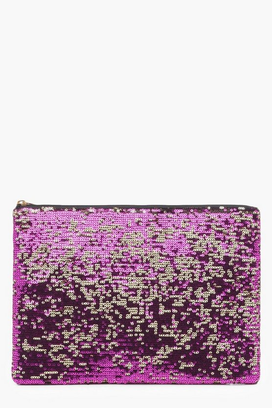 Two Way Sequin Ziptop Clutch Bag