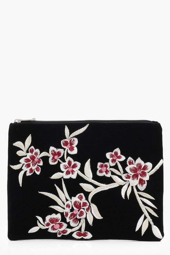 Oriental Embroidered Velvet Clutch Bag