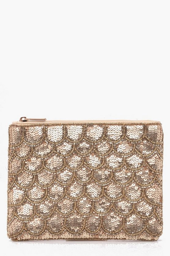 Gold Scallop Sequin Clutch
