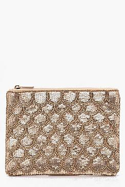 Scallop Sequin Clutch