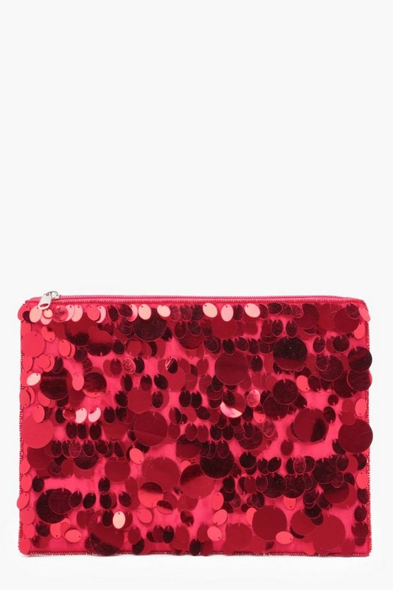 Mixed Sequin Ziptop Clutch