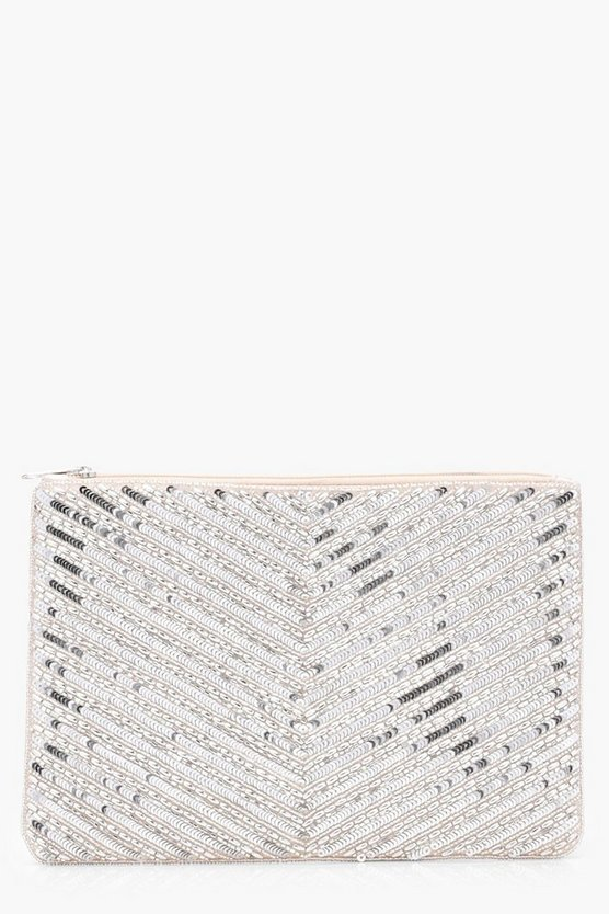 Amy Chevron Bead Ziptop Clutch