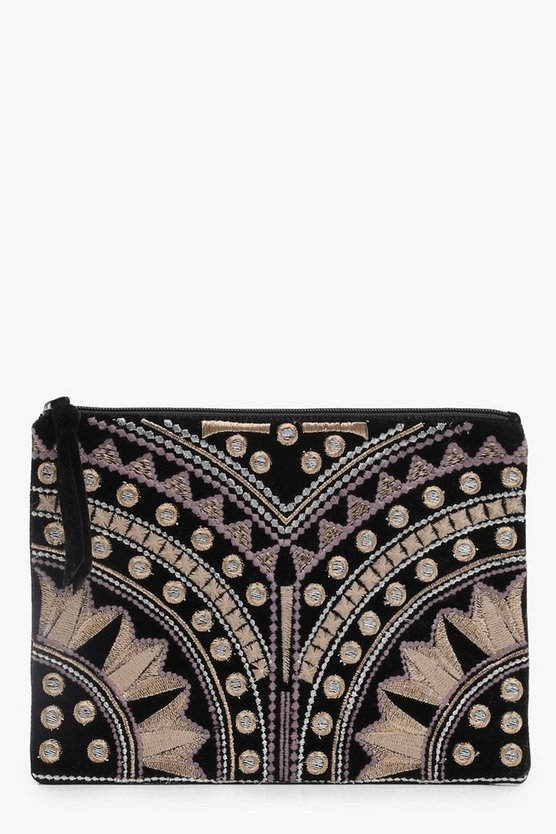 Ivy Embroidered Ziptop Clutch Bag