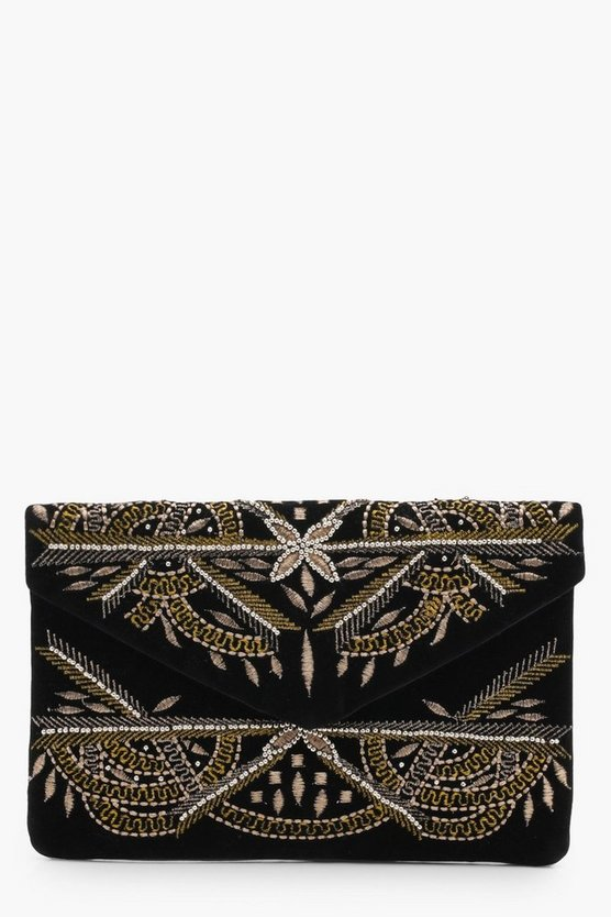 Heidi Embroidered Velvet Envelope Clutch Bag