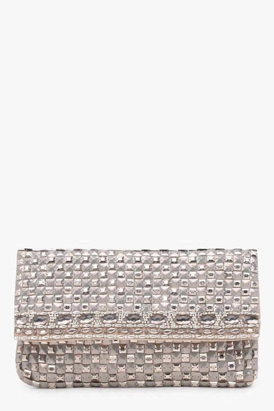Ellie Square Stud And Diamante Foldover Clutch