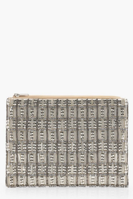 Ivy Metal Bead And Diamante Ziptop Clutch