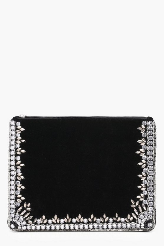 Womens Black Millie Diamante And Bead Edged Clutch