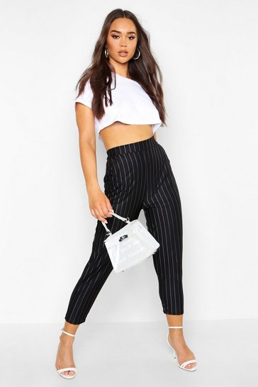 Womens Black Pinstripe Relaxed Trouser