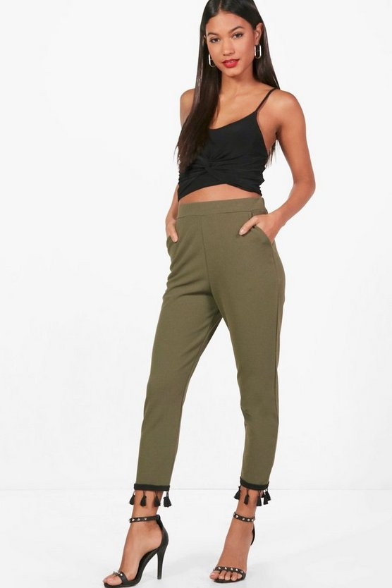 Jade Tassle Trim Slim Fit Trousers