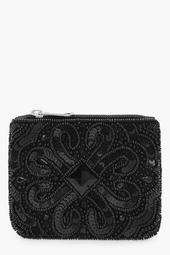 Womens Black Embellished Beaded Zip Coin Purse