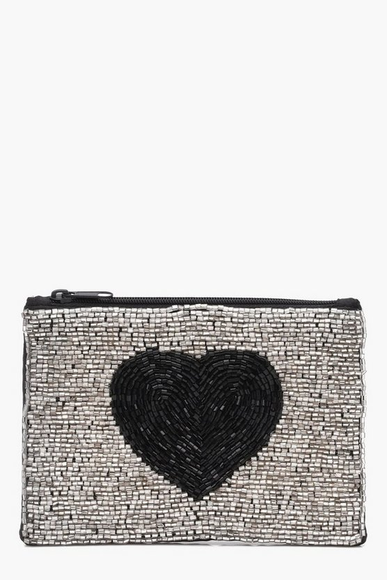 Olivia Beaded Heart Zip Top Purse