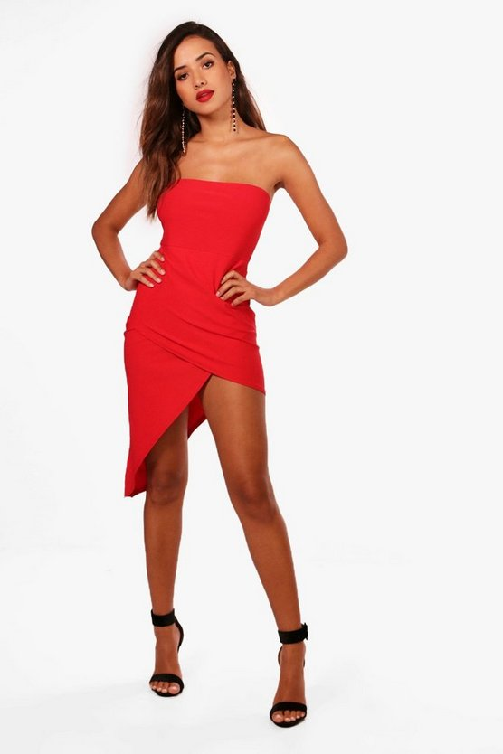 Bandeau Asymmetric Midi Dress