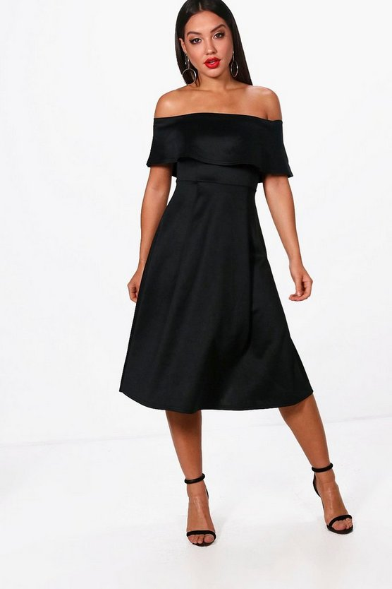 Deanna Off the Shoulder Midi Skater Dress