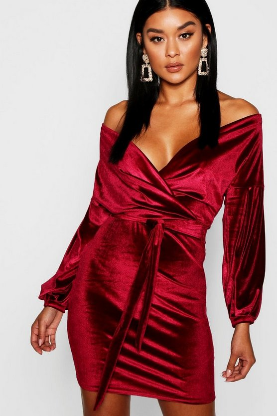 Womens Berry Velvet Off the Shoulder Midi Dress