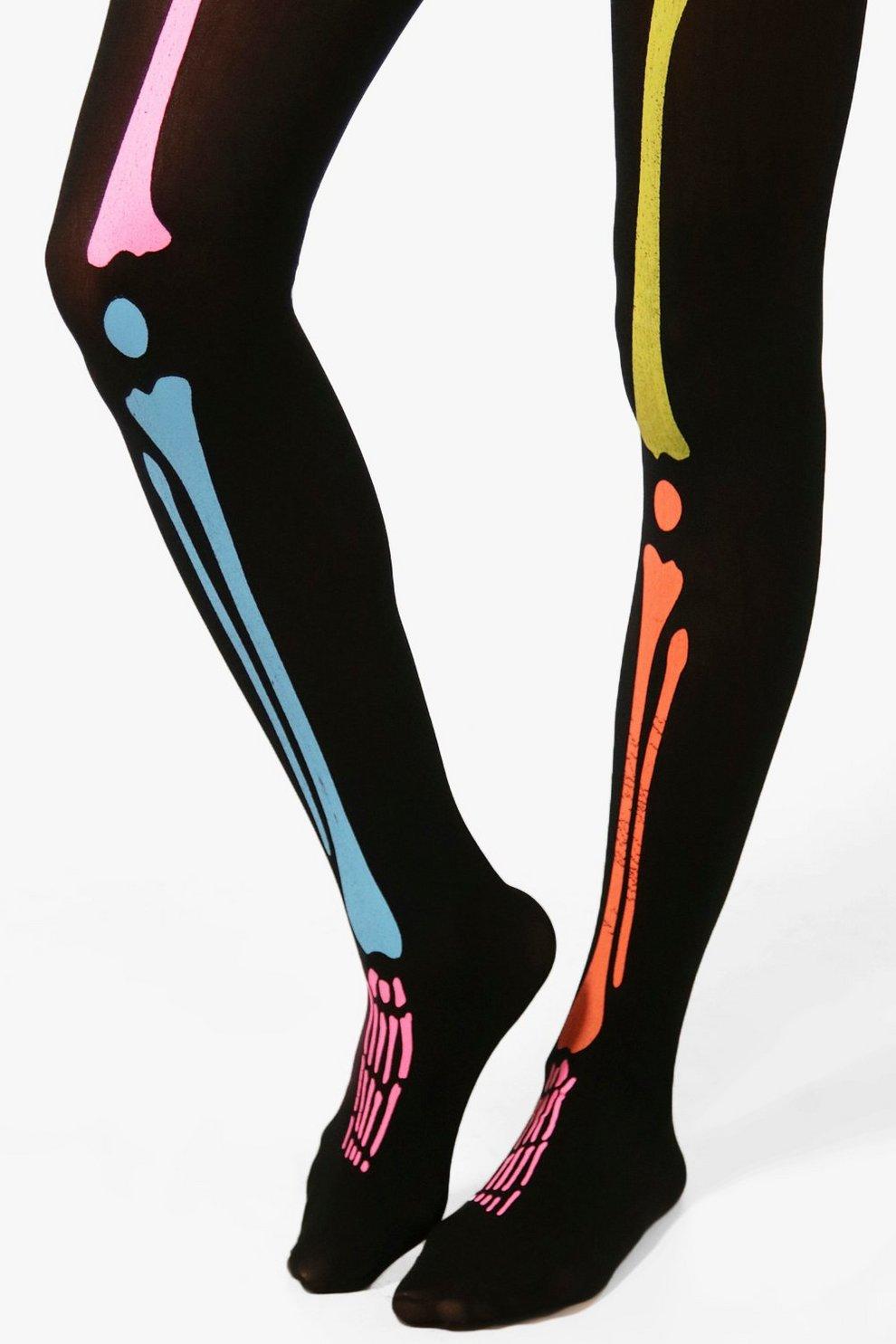 Halloween Ivy Neon Skeleton Legs Tights Boohoo