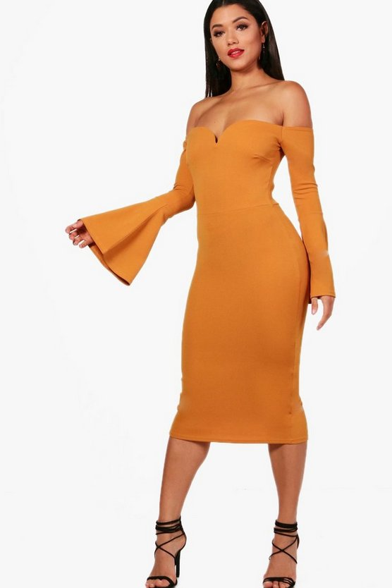 Di Off the Shoulder Flared Sleeve Midi Dress