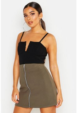 Khaki Zip Through A Line Mini Skirt