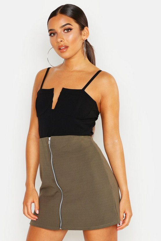 Zip Through A Line Mini Skirt