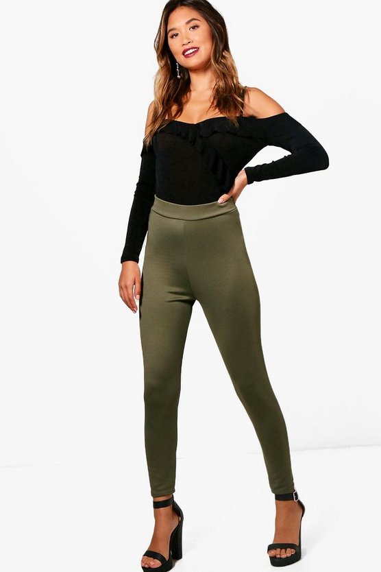 Womens Khaki High Waist Basic Scuba Legging
