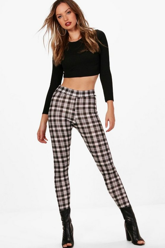 Lydia Crepe Checked High Waist Leggings