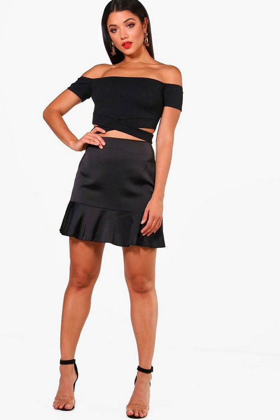 Ripple Satin Drop Hem Mini Skirt, Black, MUJER
