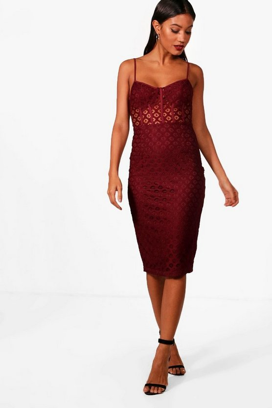 Structured Lace Midi Dress