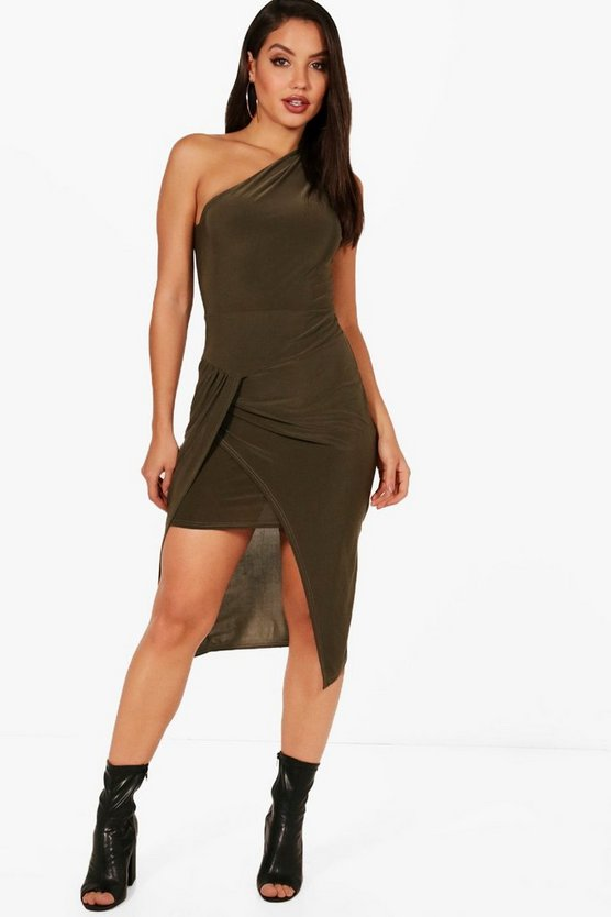 Slinky One Shoulder Midi Dress