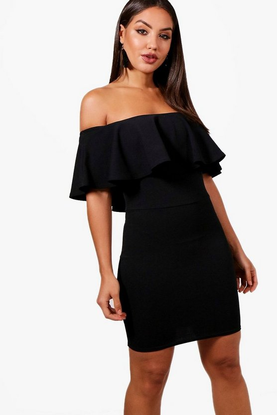 Crepe Off the Shoulder Bodycon Dress