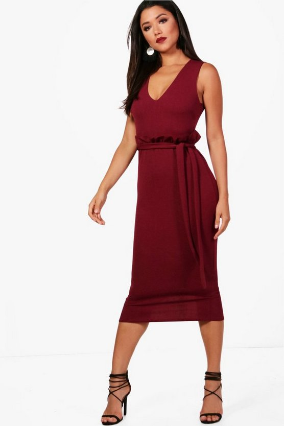 Sleeveless Paperbag Waist Midi Dress