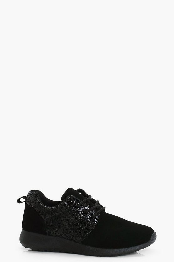 Womens Black Marble Panel Lace Up Trainers