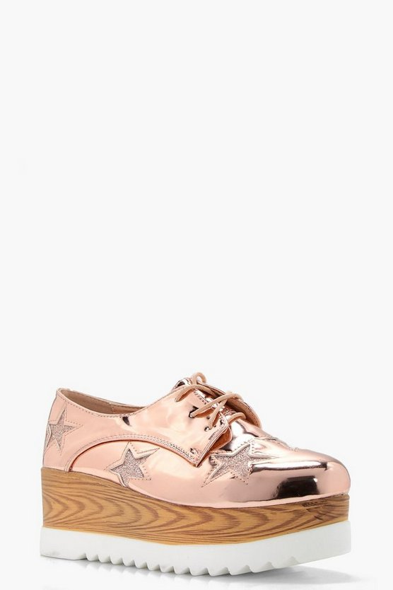 Womens Rose gold Erin Star Detail Platform Brogues