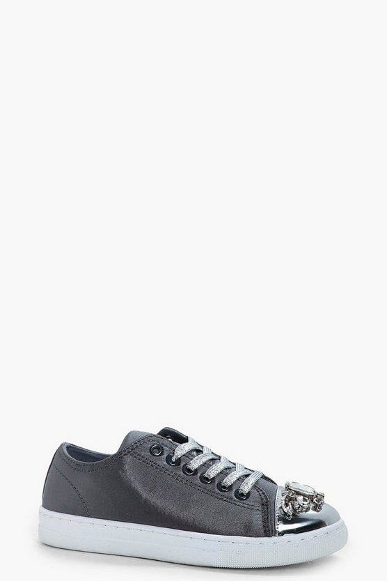 Womens Grey Sophia Embellished Toe Cap Trainers