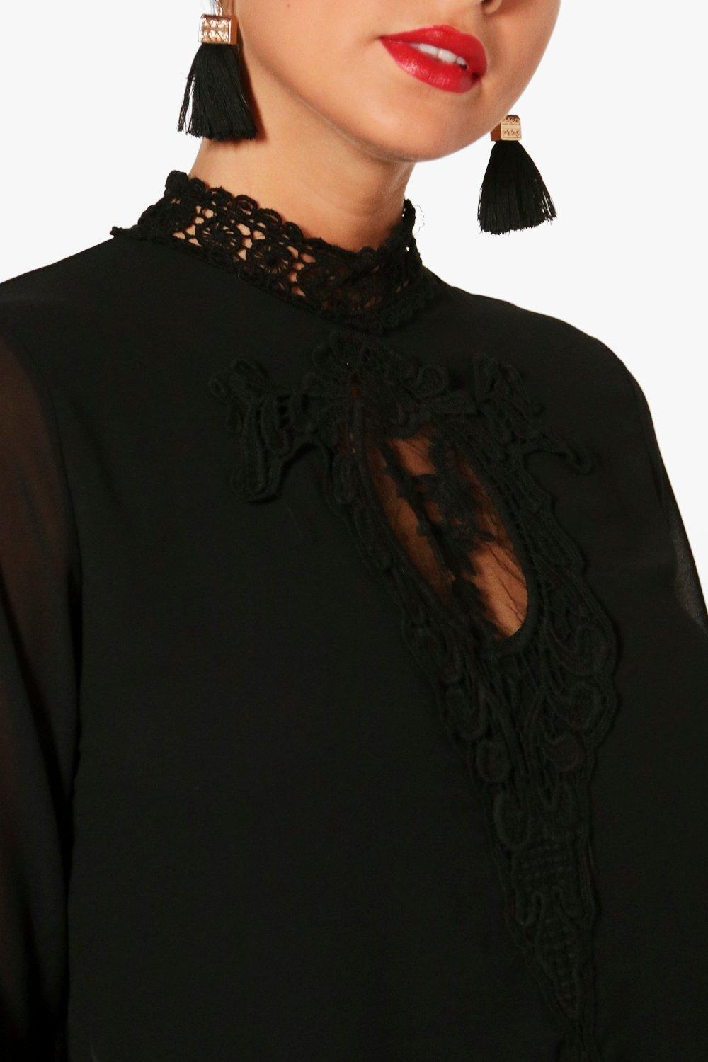Lace Panel Lace black Panel Choker Blouse rr0dqaw