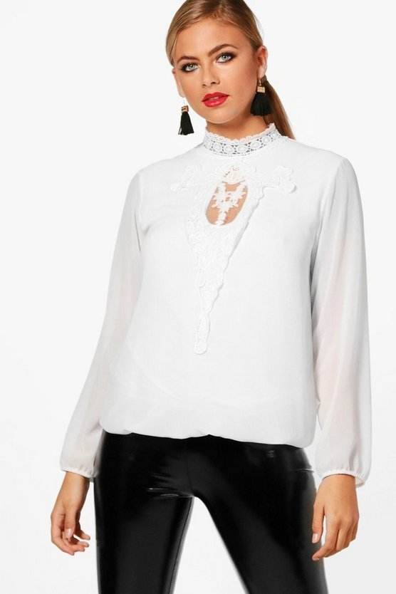 Lace Panel Choker Blouse