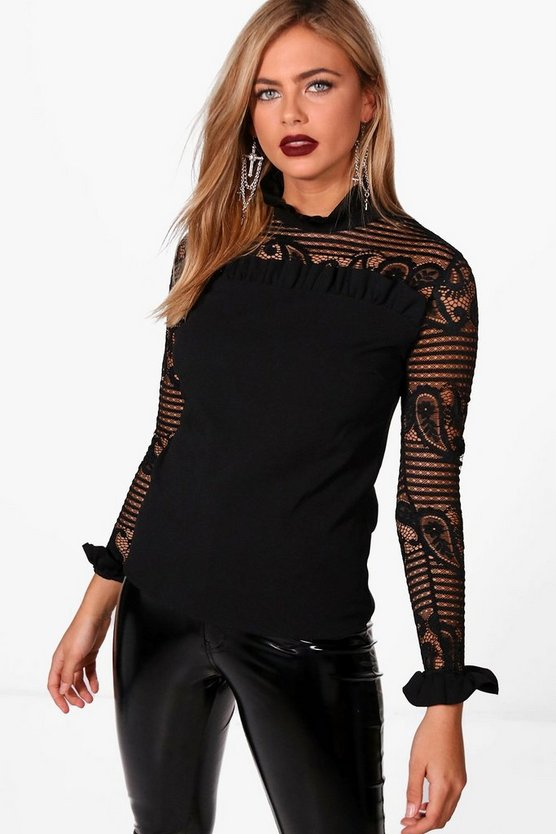 Womens Black Lace Ruffle High Neck Blouse