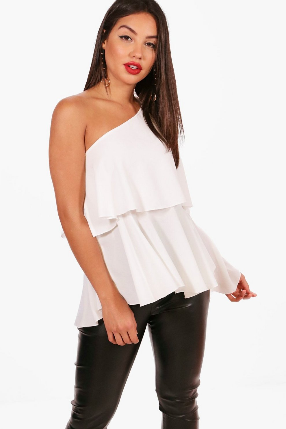d57b10d241e87b One Shoulder Frill Woven Top | Boohoo