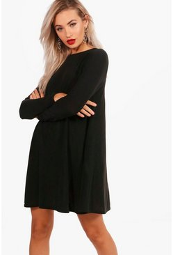 Womens Black Fine Knit Swing Dress