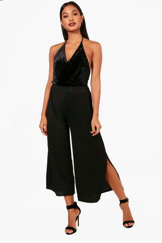 Metallic Rib Split Side Culottes