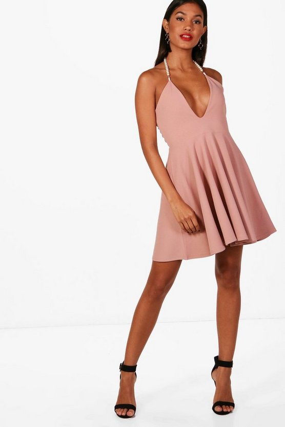 Pearl Neck Skater Dress