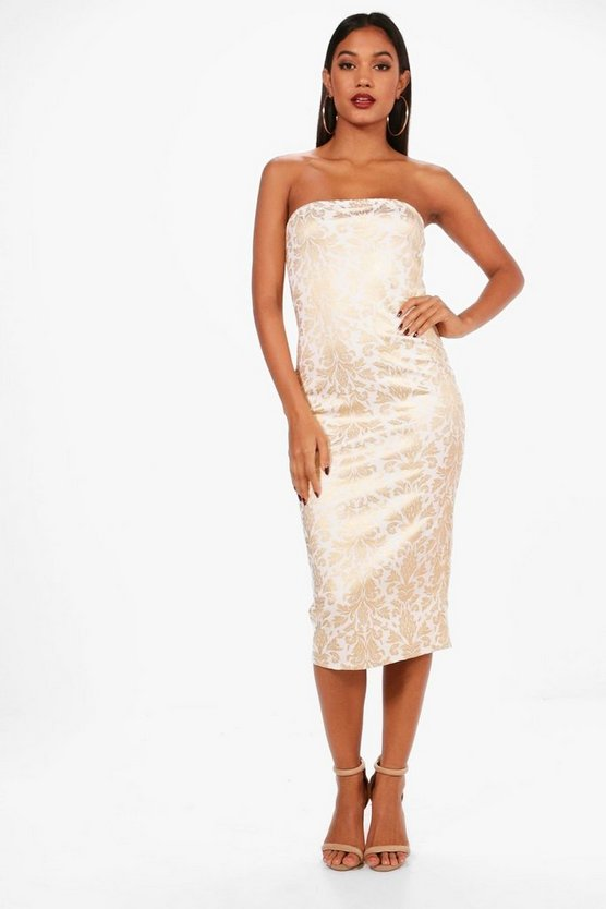 Bandeau Foil Print Midi Dress
