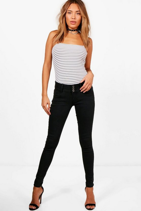 3 Button High Rise Skinny Jeans