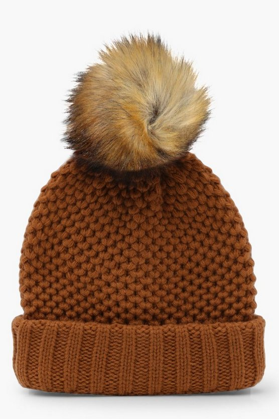 Textured Knit Turn Up Beanie