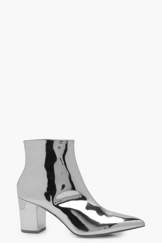 Freya Metallic Pointed Ankle Boots