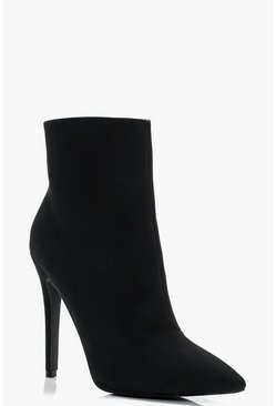 Womens Black Pointed Heeled Stiletto Sock Boots