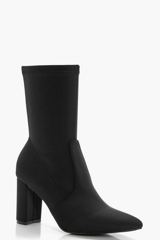 Stretch Pointed Toe Sock Shoe Boots