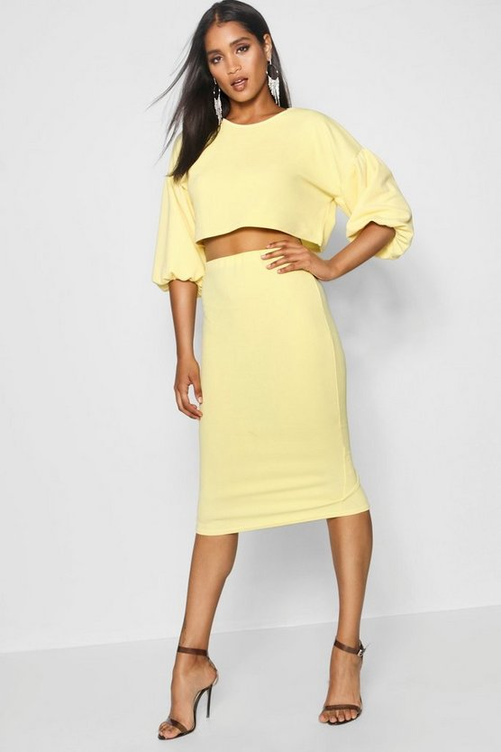Womens Yellow Puff Ball Sleeve Top and Midi Skirt Set